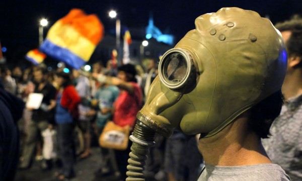 Protest in Bucharest against the opening of Rosia Montana gold mine