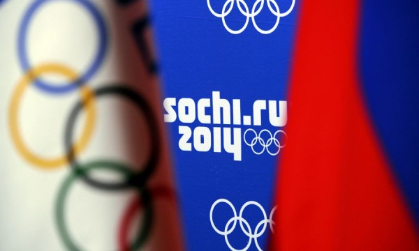 Logos of Sochi 2014 are seen during a pr