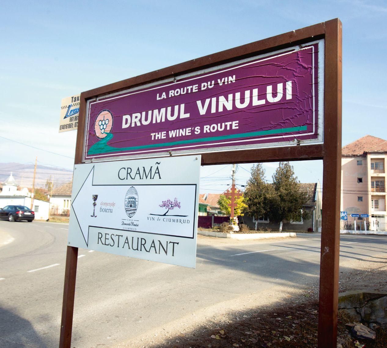 """La intrarea în Ciumbrud o tăbliţă te informează că te afli pe """"Drumul Vinului""""."""