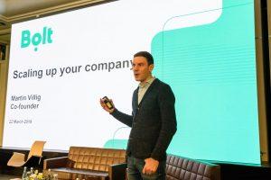 Martin Villig, co-fondatorul Bolt, în timpul prezentării de la Startup Europe Summit Cluj 2019   Foto: Primăria Cluj-Napoca